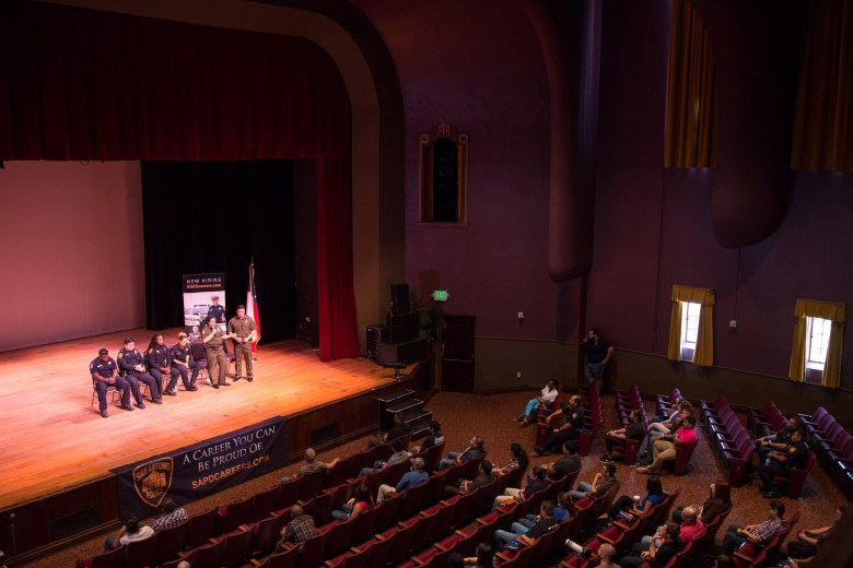 A panel discussion consisting of members of the United States Border Patrol, San Antonio Fire Department, and the San Antonio Police Department discuss diversity in their respective departments at the Carver Cultural Center. Photo by Scott Ball.