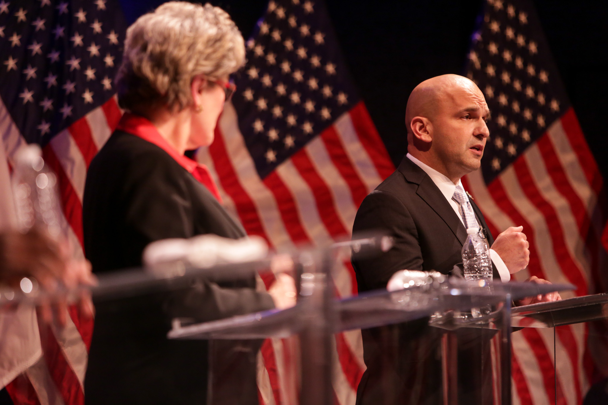 Bexar County Sheriff candidate Javier Salazar gives his closing statement. Photo by Scott Ball.