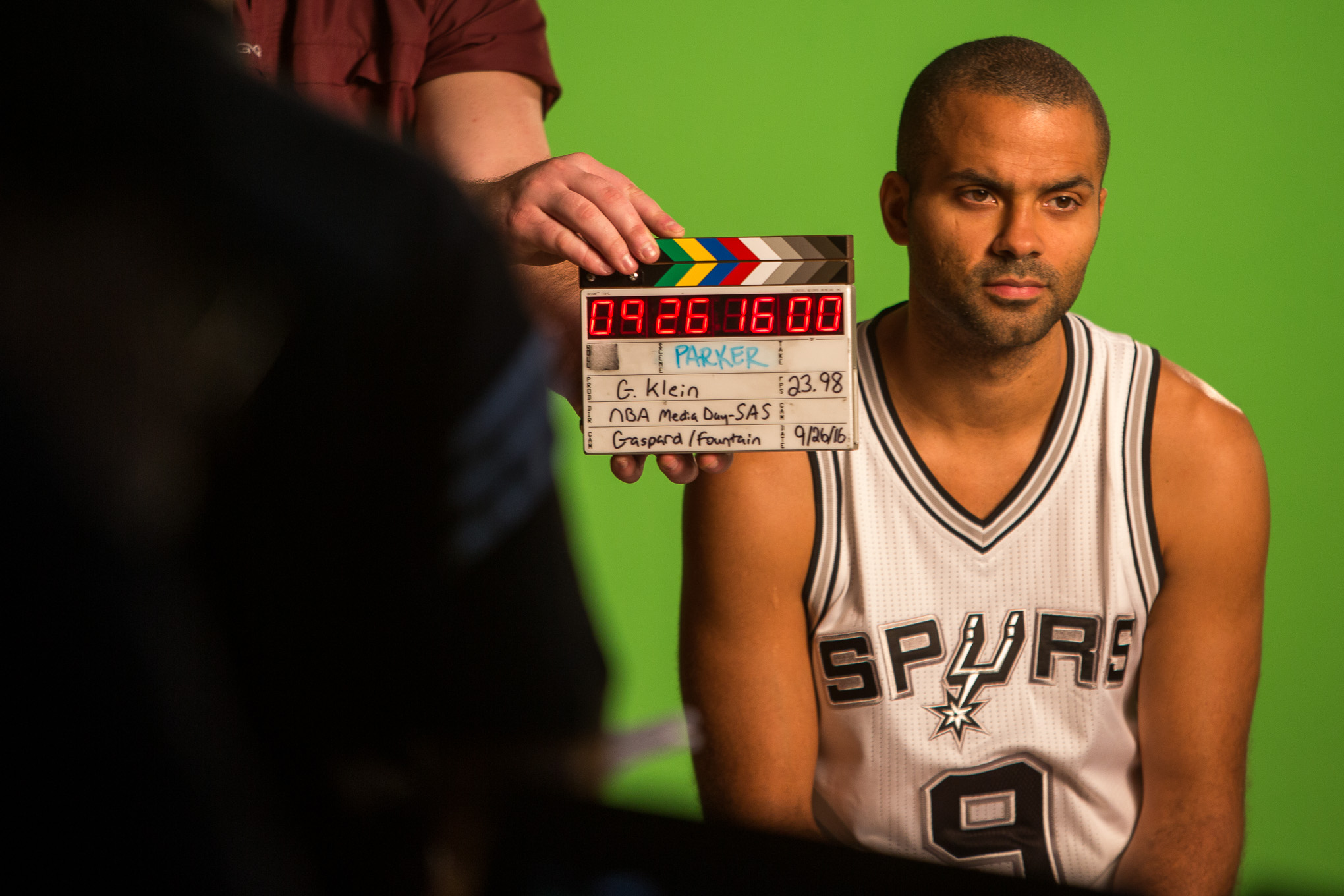 San Antonio Spur Guard Tony Parker prepares for a video interview during media day. Photo by Scott Ball.