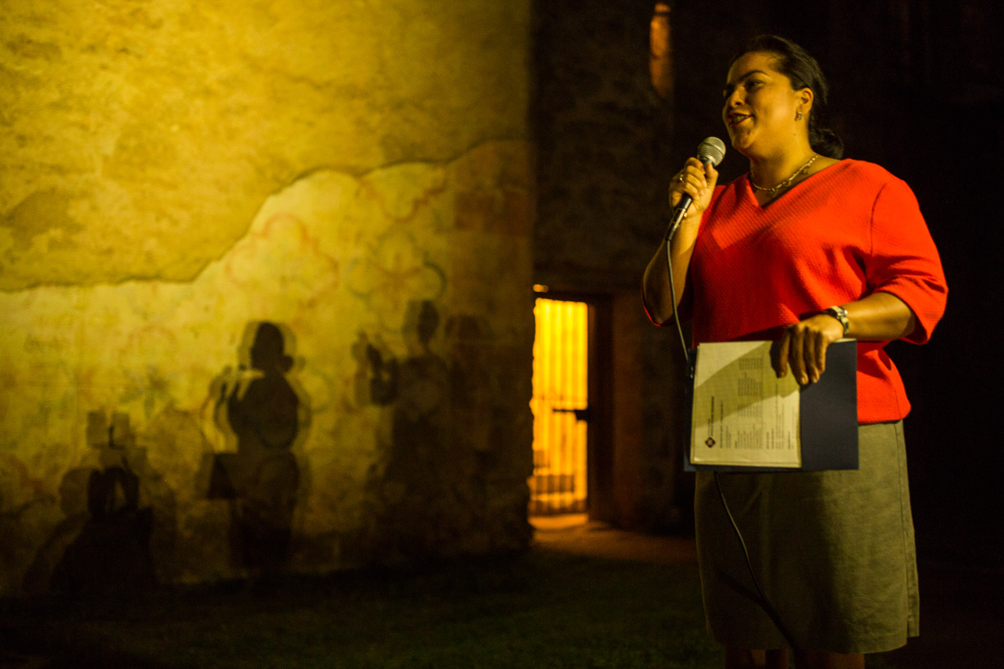 Councilwoman Rebecca Viagran (D3) speaks before the illumination of Mission San Jose. Photo by Scott Ball.