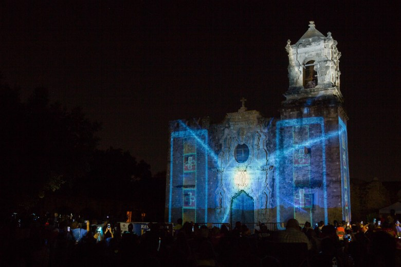 Mission San José during the Restored by Light illumination. Photo by Scott Ball.