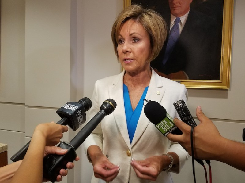 City Manager Sheryl Sculley talks to reporters after City Council approved the fiscal year 2017 City Budget on Thursday, Sept. 15, 2016. Photo by Iris Dimmick.
