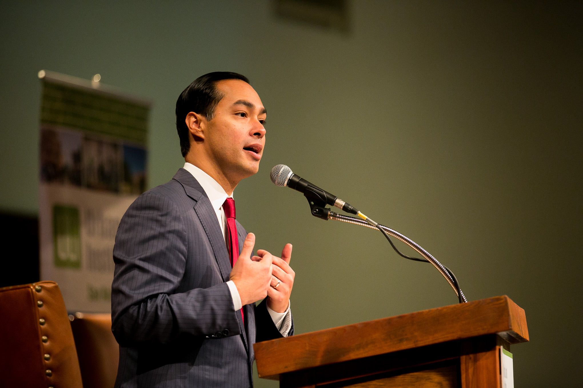 Secretary of Housing and Urban Development Julián Castro speaks at the ULI Housing Luncheon about the need for the Eastside to have equal opportunity in San Antonio.