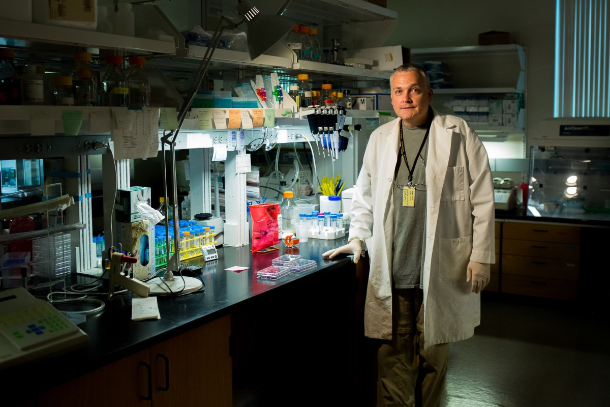 Dr. Andrew Hayhurst is one of several scientists at Texas BioMed working on filoviruses to develop therapies and vaccines for diseases such as Ebola or Marburg virus.