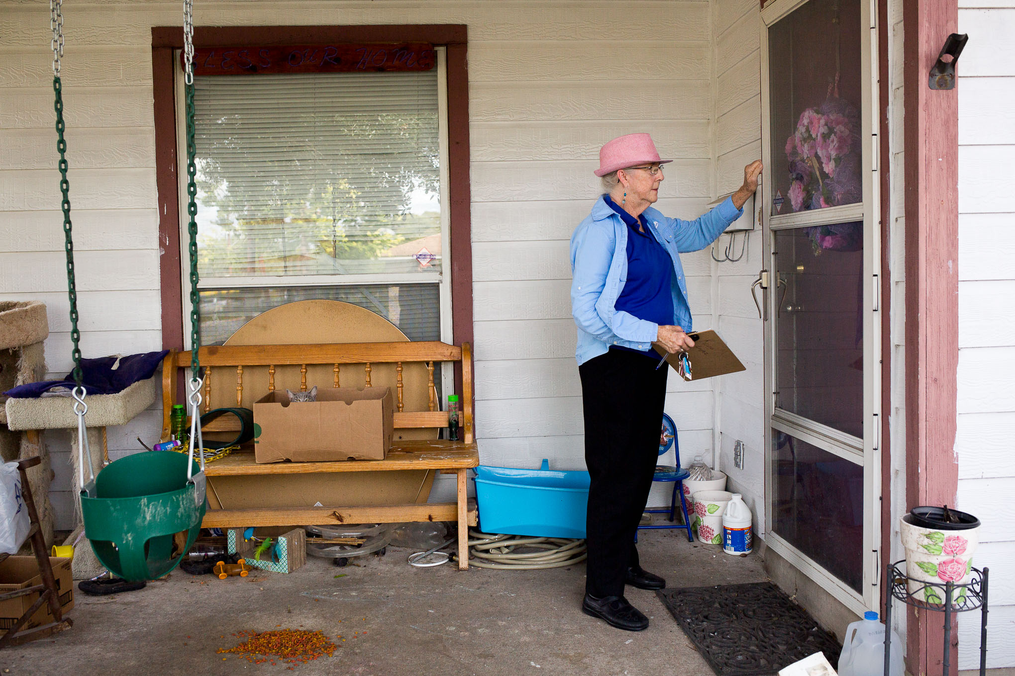SAISD Board President Patti Radle knocks on doors to inform voters about two questions that the San Antonio Independent School District (SAISD) has on the ballot for the Nov. 8 election.