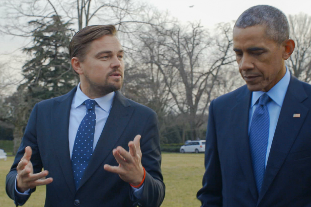 Leonardo DiCaprio with President Obama in the documentary film Before the Flood, directed by Fisher Stevens, executive directed by Martin Scorsese.