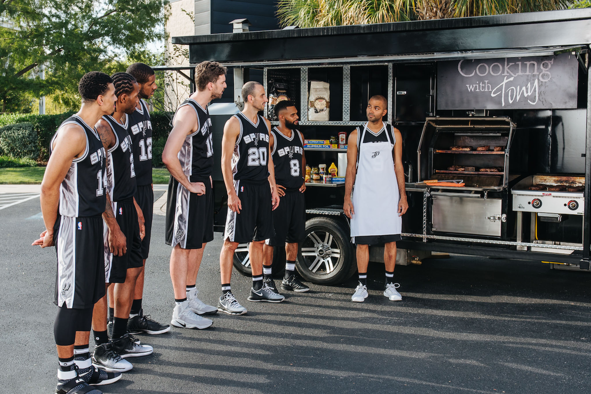 (From left) Spurs players Danny Green, Kawhi Leonard, LaMarcus Aldridge, Pau Gasol, Manu Ginobili, Patty Mills, and Tony Parker all in appearance during the shooting of the most recent H-E-B commercials.
