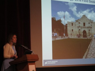 Archaeologist Nesta Anderson summarizes the work that was done at the Alamo Plaza dig site over the summer.