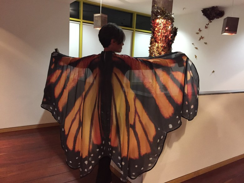 Drake White shows off her Monarch butterfly attire at the Instituto Cultural de México.