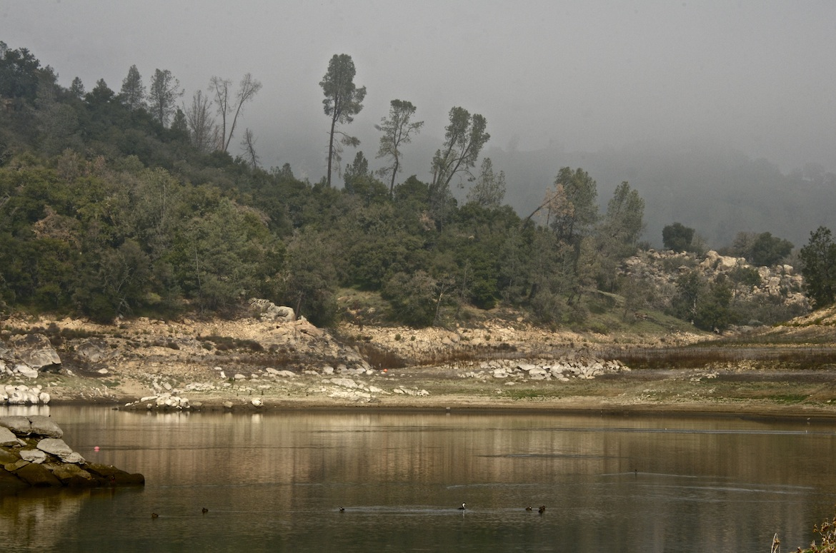 Santa Margarita Lake in Southern California holds a fraction of its usual water supply due to drought.