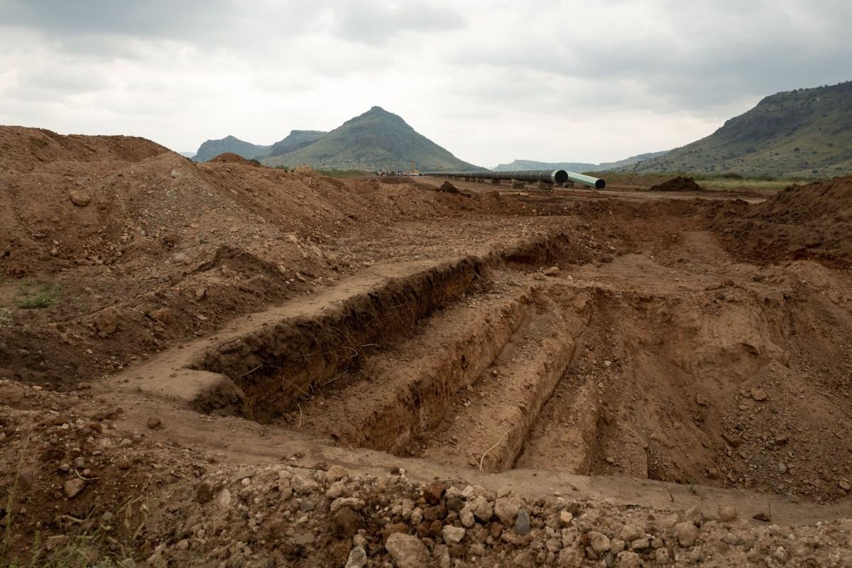 The Trans-Pecos Pipeline under construction near Alpine Texas.