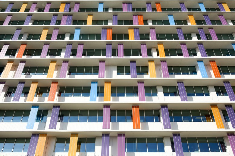 Colorful exterior panels are sprinkled like confetti at the Children's Hospital of San Antonio.