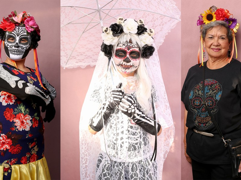 A photo collage of three attendees during Dia de los Muertos at the Guadalupe Cultural Arts Center. (left to right) Dana, 11, Madelynn, 6, and Sara de la Garza.