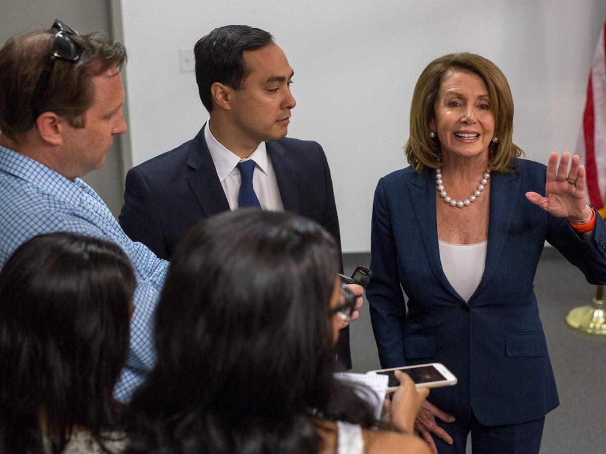 Congressman Joaquín Castro (D-Texas) and Minority Leader of the United States House of Representatives Nancy Pelosi discuss politics with local reporters.