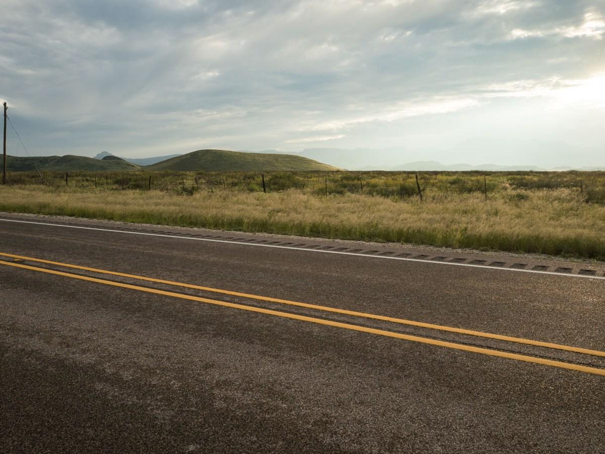 A roadside landscape along State Highway 17 heading north towards Balmorhea, TX.