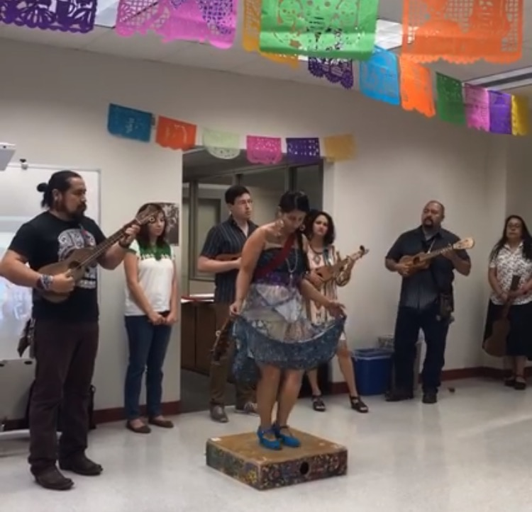 Son Jarocho musicians and dancers perform at the MAS center's grand opening.