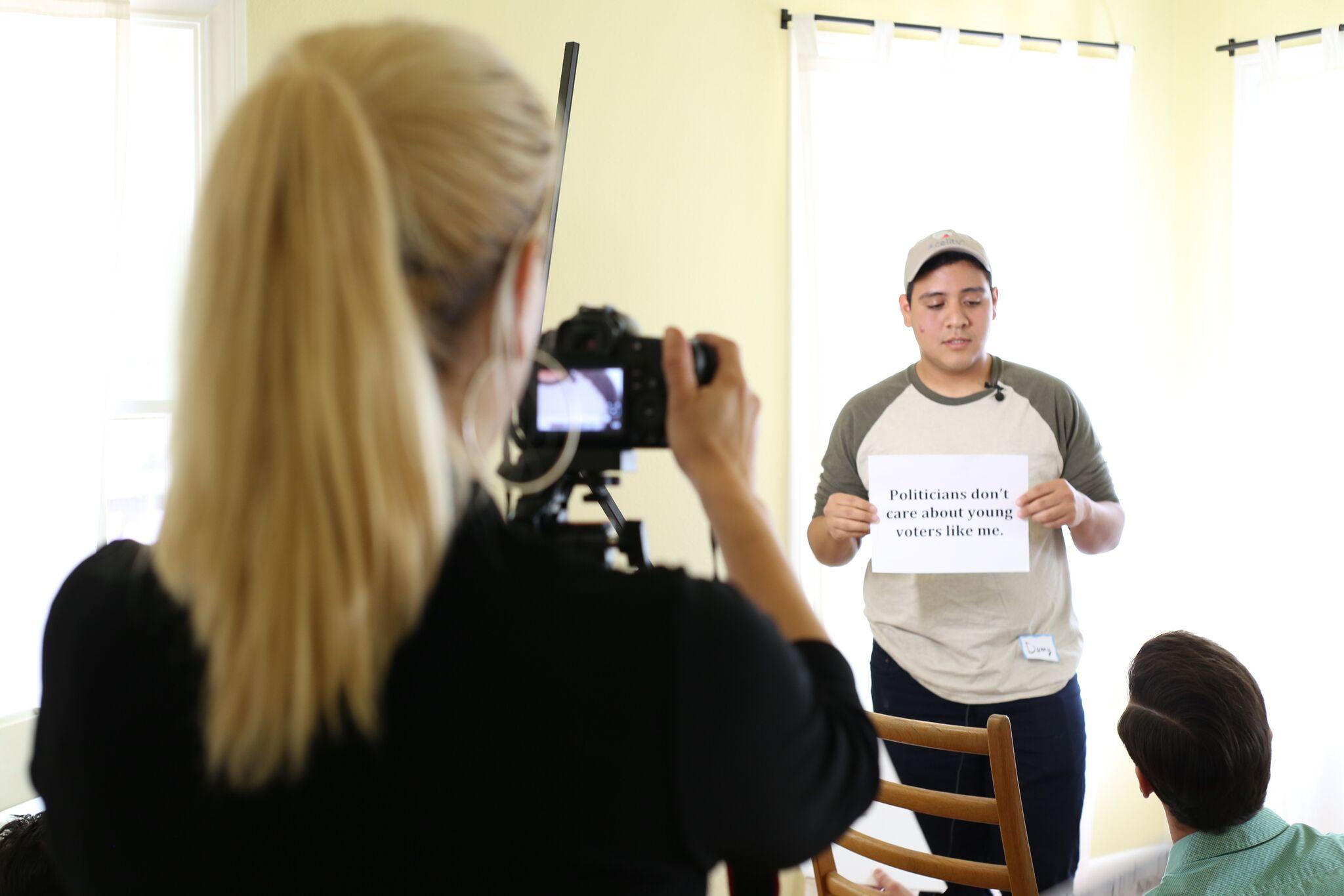 Laura Varela and Daniel Castillo at the GET REEL 1 Film Shoot on March 24, 2016. Photo by Arlene Mejorado