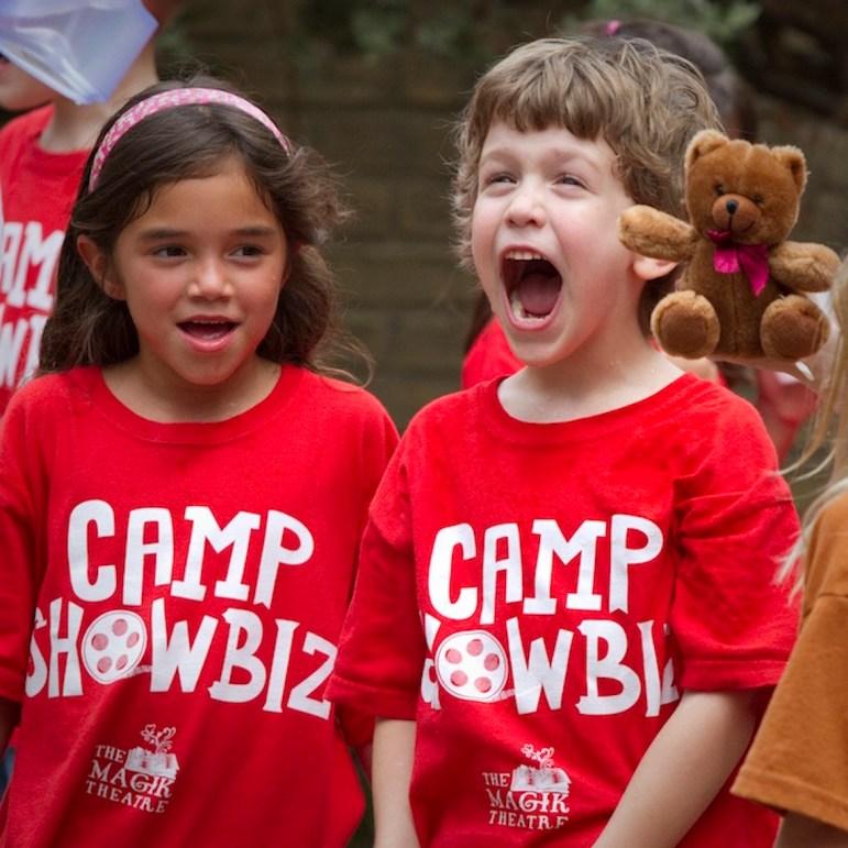 Children participate in Camp Showbiz,The Magik Theatre's summer arts program.
