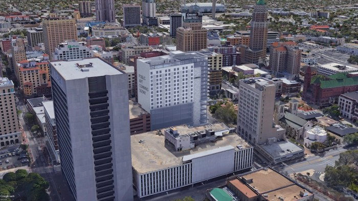 The developers of the hotel, office tower said they are considering opening up the blank, northern wall to public art.  Rendering courtesy of JRK Design.