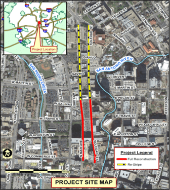 A project map of the reconstruction of Main and Soledad Streets.