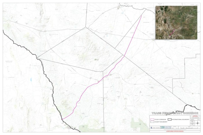 The Trans-Pecos Pipeline originates at the Waha Hub outside Fort Stockton, Texas in northern Pecos County and will deliver transport 1.4 billion cubic feet per day to Mexico's federal electricity commission.