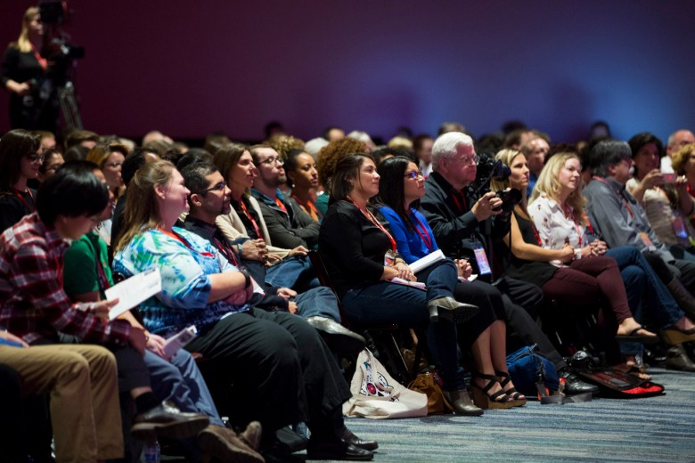 Hundreds of people listen to the TEDx talks.