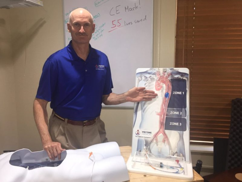 David Spencer displays the Prytime Medical Devices' REBOA (Resuscitative Endovascular Occlusion of the Aorta) is a minimally invasive technique to temporarily occlude large vessels by using a balloon catheter.