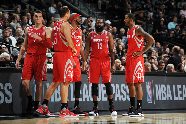 James Harden #13 with his teammates huddle during the game against the San Antonio Spurs on November 9, 2016 at the AT&T Center in San Antonio, Texas.
