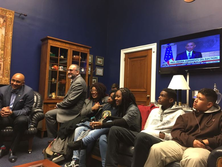 Dreamers and Mentors visit with Representative Henry Cuellar.