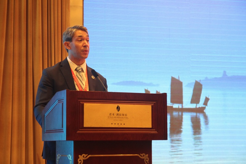Councilman Ron Nirenberg (D8) speaks at the 8th Wuxi International Sister Cities Forum.
