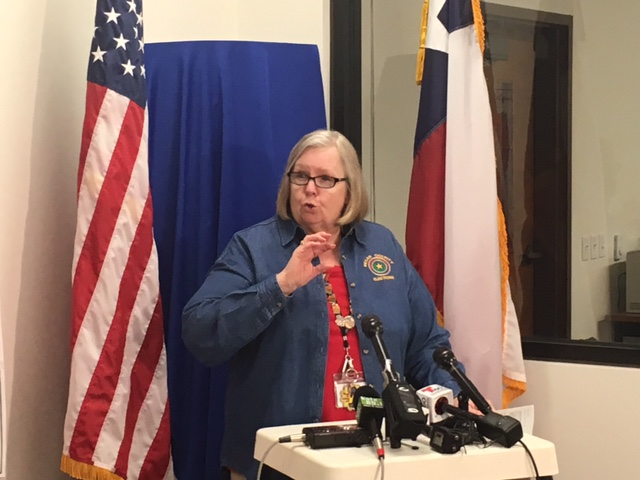 Bexar County Elections Administrator Jacquelyn Callanen addresses the crowd at the election office press conference.