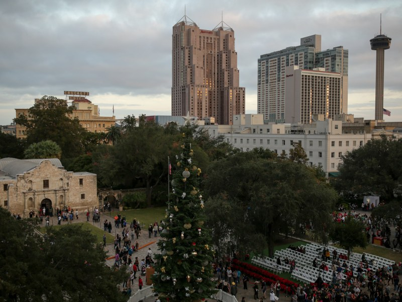 The view of Alamo Plaza and the city skyline before the tree lighting.
