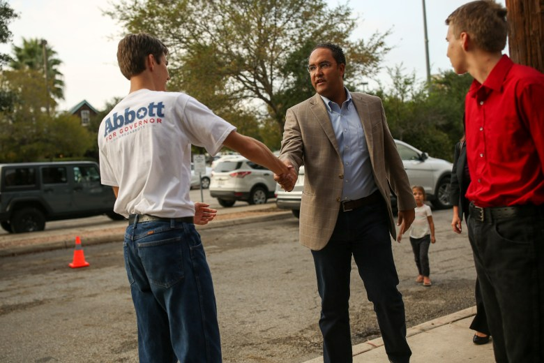 U.S. Representative Will Hurd (R-D23) is greeted by young Republicans at County Line Barbecue.
