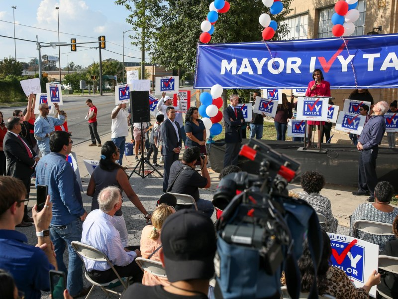 Mayor Ivy Taylor announces her candidacy for a second term as Mayor of San Antonio in front of the future home of CAST Tech in downtown San Antonio.