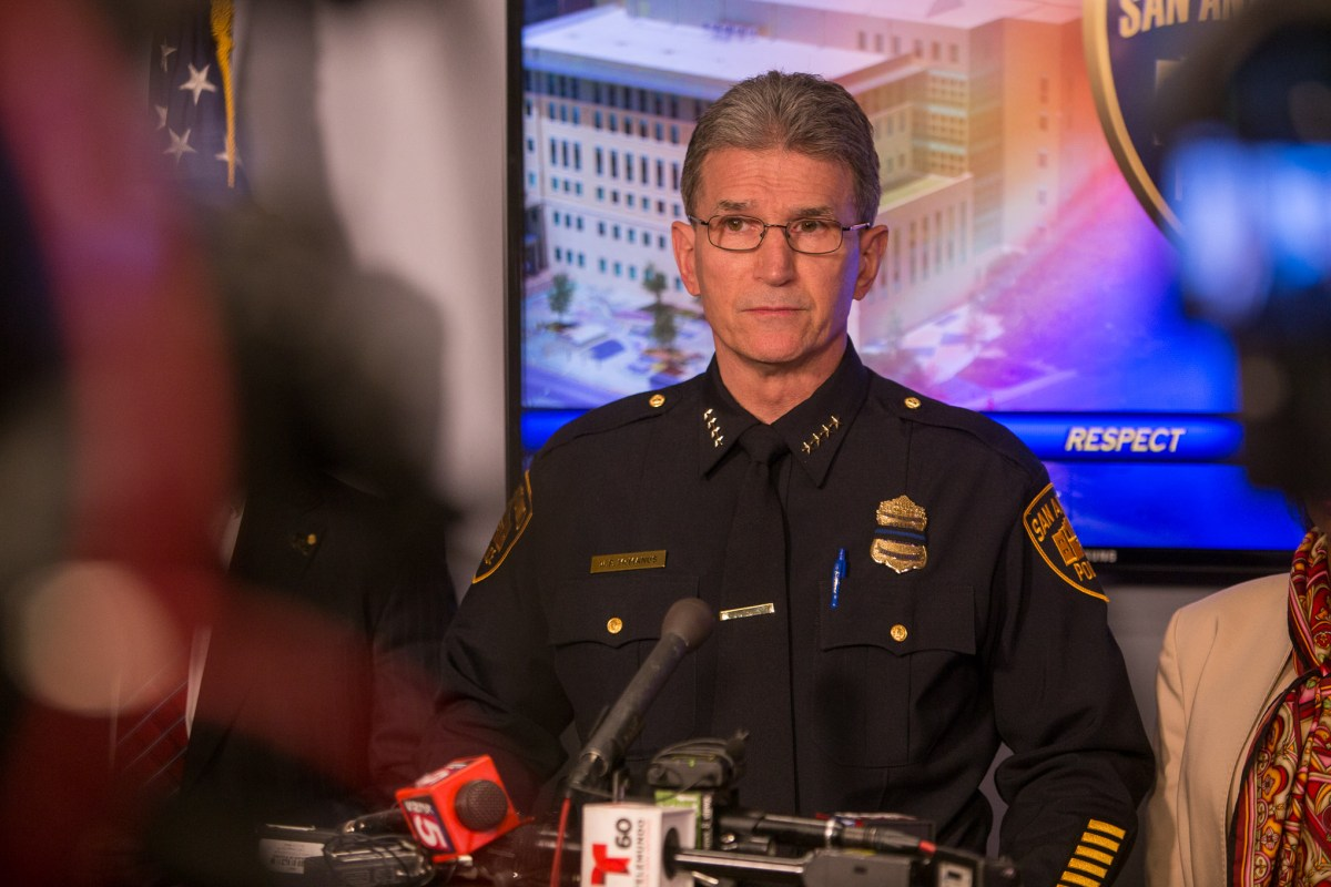San Antonio Police Chief William McManus announces that an arrest has been made in the murder of SAPD Detective Benjamin Marconi.