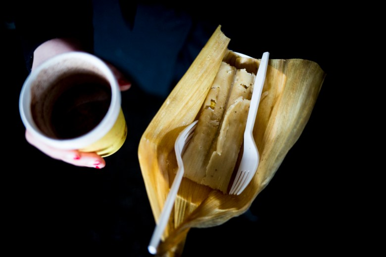 A pineapple tamale from Cocina Heritage and hot chocolate from Hernán.