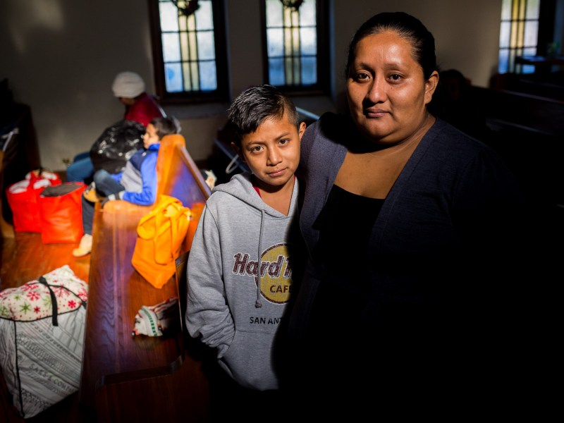 Vilma Yolanda Ramirez, 33, and her son Jose Edilson Ramirez, 11, from Guatemala, are waiting to find a bus or plane to Atlanta to connect with Vilma's uncle.