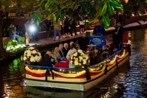 Mayor Ivy Taylor and Her Royal Highness Princess Astrid of Belgium and His Excellency Pieter De Crem enjoy a boatride along the Riverwalk.