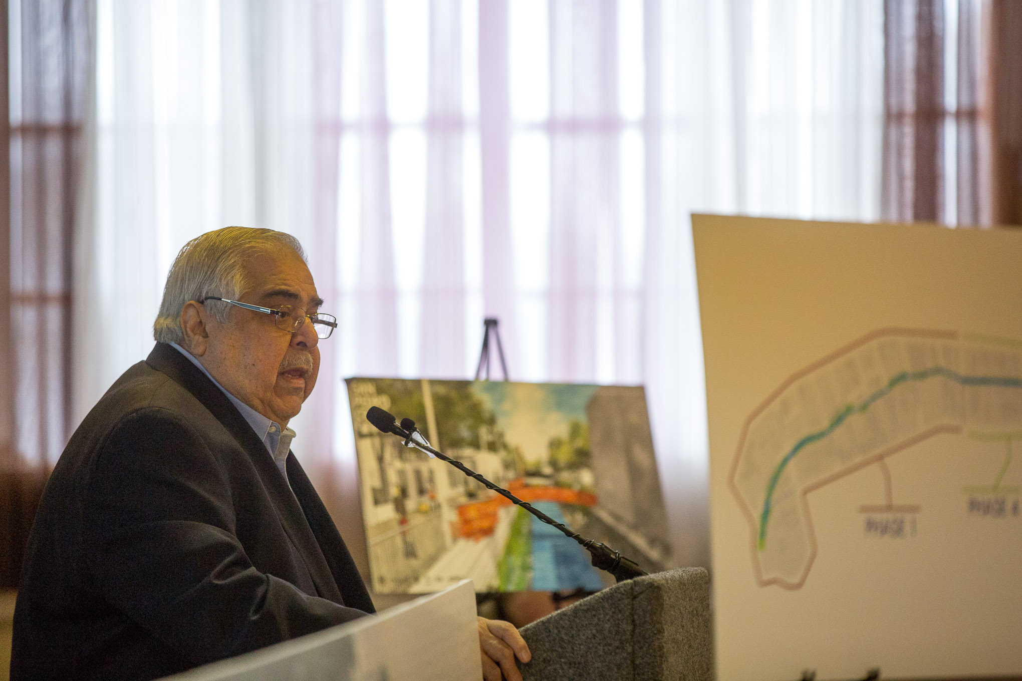 Bexar County Commissioner Paul Elizondo (Pct. 2) speaks about the history of San Pedro Creek.