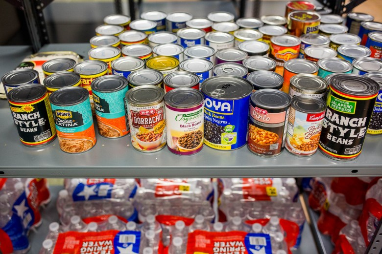 The food pantry is stocked with canned foods, breads, fresh fruit when available and other foods provided by the SA Food Bank.