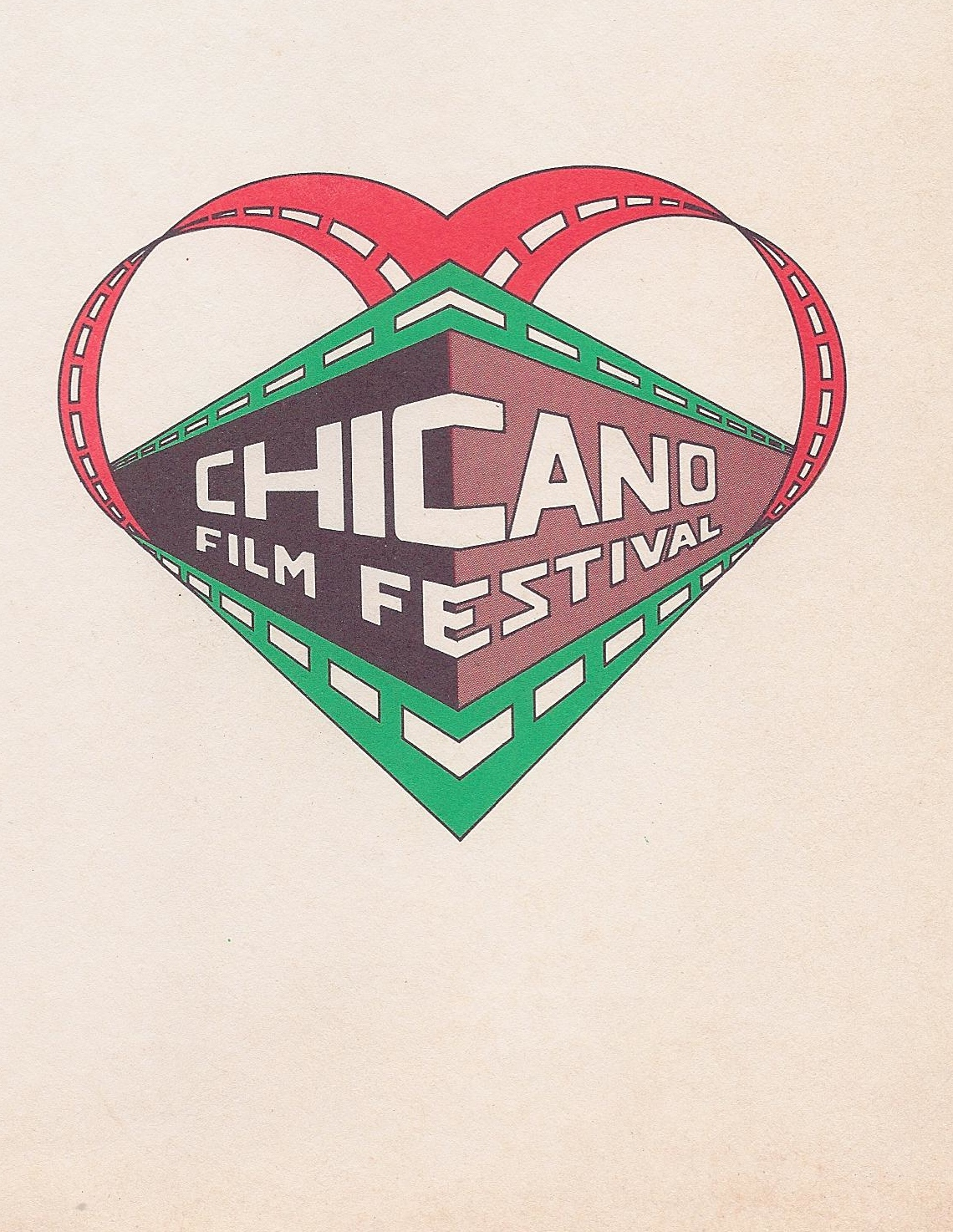 The logo for the second annual Chicano Film Festival, designed by local artist artist Ernest Montoya.
