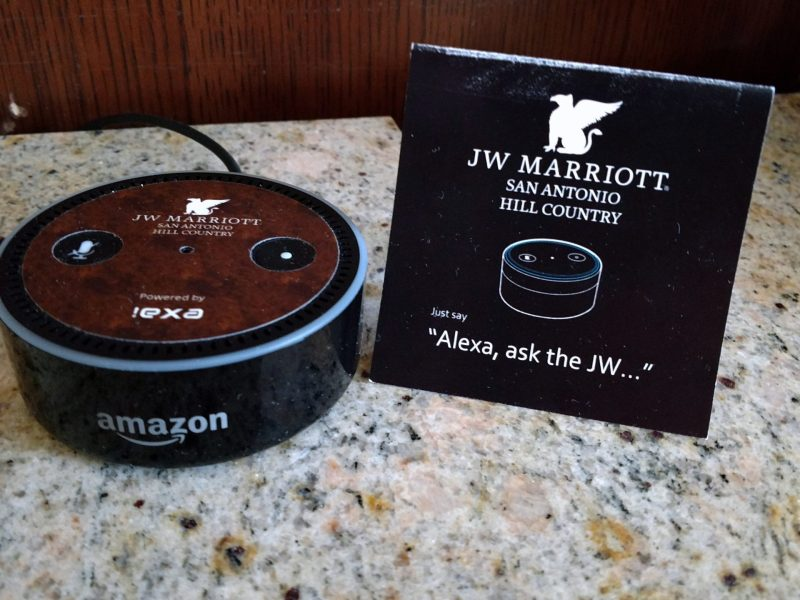 The JW Marriott San Antonio Hill Country Resort and Spa is testing Amazon's Amazon Echo Dot in selected hotel rooms.