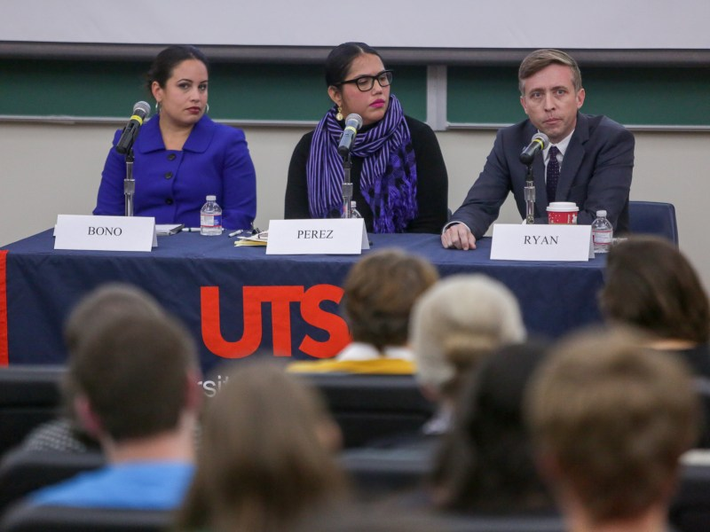 (left to right) MALDEF Regional Counsel Marisa Bono, DMCA Partner Marisol Pérez, and RAICES Executive Director Jonathan Ryan sit on a panel discussing what's next for DREAMers.