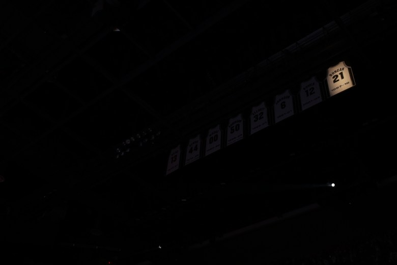 The jersey of Tim Duncan unveiled at the AT&T Center.