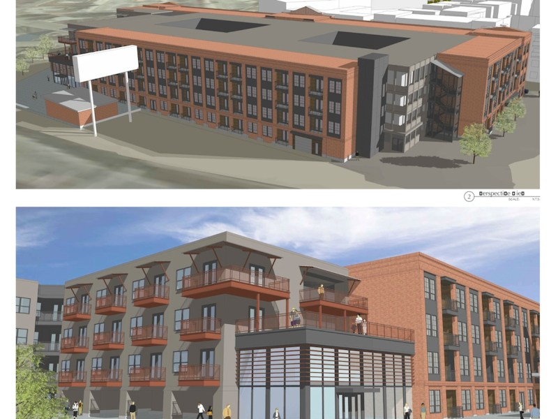 Looking northwest (top) and northeast at the proposed Brewery South apartment building.