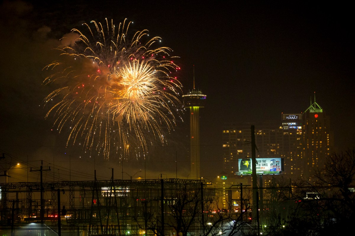 Fireworks go off over the Tower of the Americas at Hemisfair in 2017.