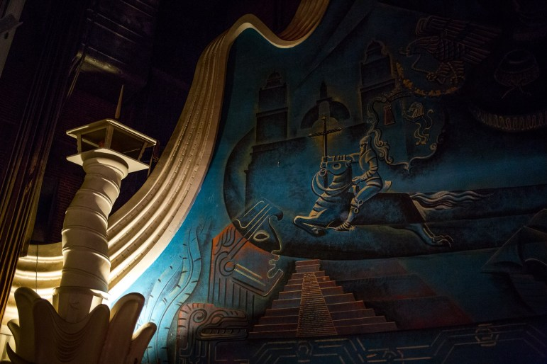 The 60-year-old building is colorfully painted with murals telling the story of Texas Anglos and Mexicans.