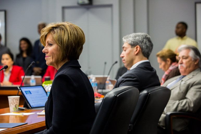 City Manger Sheryl Sculley (left) explains the rough proportionality of the bond program.