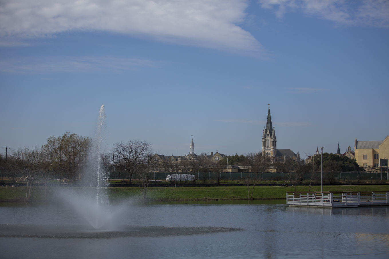 Our Lady of the Lake University overlooks Elmendorf Lake Park.