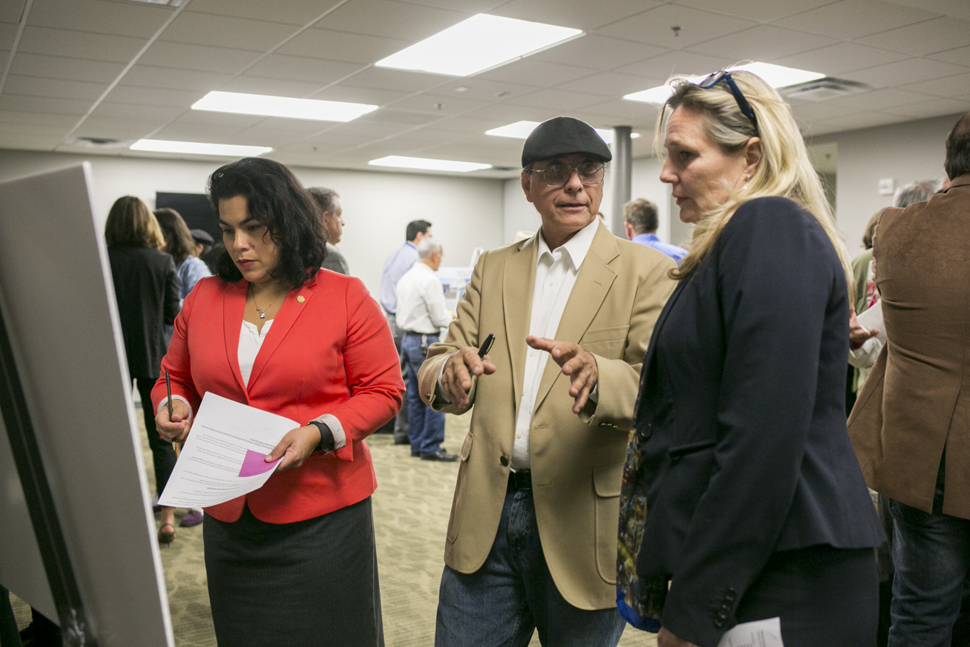 From left: Councilwoman Rebecca Viagran (D3), URBAN15 Music Director George Cisneros and World Heritage Director Colleen Swain talk about proposed public art locations.